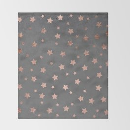 Rose gold Christmas stars geometric pattern grey graphite industrial cement concrete Throw Blanket