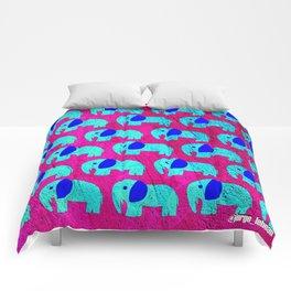 pink sky elephant ecopop Comforters