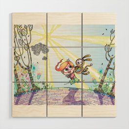 Laughing Along the Path - One Boy and a Toy Wood Wall Art