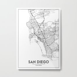 Minimal City Maps - Map Of San Diego, California, United States Metal Print