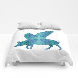 Vintage Blue Flying Pig Comforters