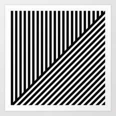Black & White Stripes & Diagonals Art Print