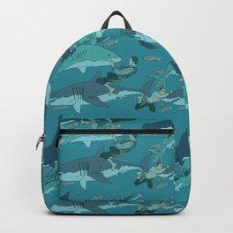 Sharks Pattern Backpack