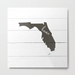 Florida is Home - Charcoal on White Wood Metal Print