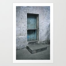 What's behind the old blue door? Art Print