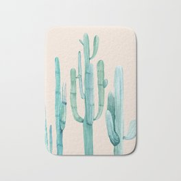 Three Amigos Turquoise + Coral Bath Mat