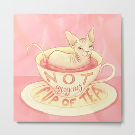 Not everyone's cup of tea - Sphynx Cat Metal Print