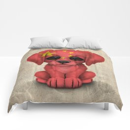 Cute Puppy Dog with flag of China Comforters