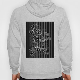Abstract white and black flowers with background Hoody