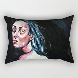 Woman with tired eyes Rectangular Pillow