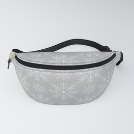 Snowflakes on Gray Fanny Pack