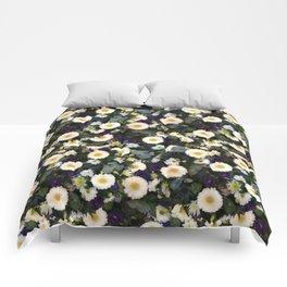 Paige's Floral Art Purple Thistle and Lisianthus Flower Arrangement Comforters