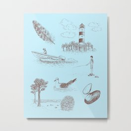 Seaside Town Toile Pattern (Light Blue and Brown) Metal Print