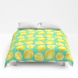 Watercolor lemons pattern Comforters