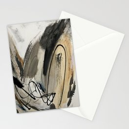 Drift [5]: a neutral abstract mixed media piece in black, white, gray, brown Stationery Cards