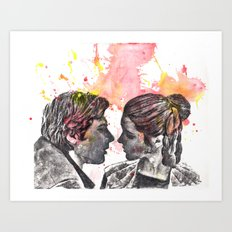 Han Solo and Princess Leia from Star Wars Art Print