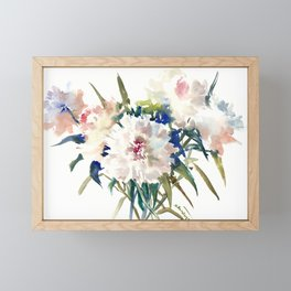 White Peonies, Asian Watercolor design Garden Peonies White lofral art Framed Mini Art Print
