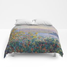 Flower Beds at Vetheuil by Claude Monet Comforters
