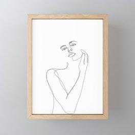 Female figure line drawing illustration - Lucy Framed Mini Art Print