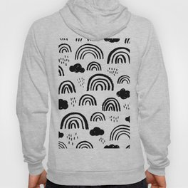 Black and white rainbow clouds Hoody