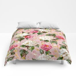 Vintage green pink white bohemian hortensia flowers Comforters