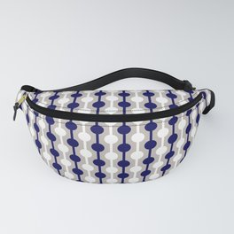 Geometric Multi Droplets Pattern - Navy Blue Cream White Fanny Pack