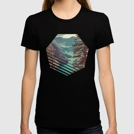 Vintage Blue Crater Lake and Trees - Nature Photography T-shirt