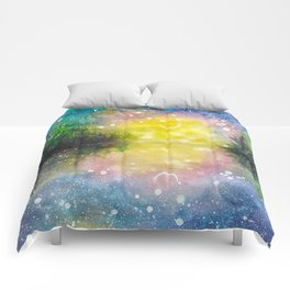 Crescent Moon Reflection Galaxy watercolor by CheyAnne Sexton Comforters