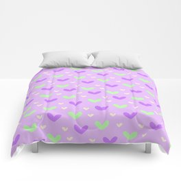 Purple and Green Hearts Comforters