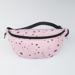 A lot of blueberry drops and petals on a pink background in mother of pearl. Fanny Pack
