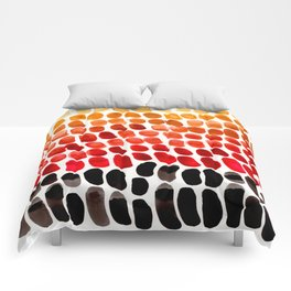 Red Orange Yellow Gradient Natural Patterns Colorful Watercolor Abstract Art Mid Century Modern Art Comforters
