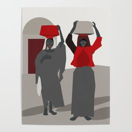 Women return from the market  Poster