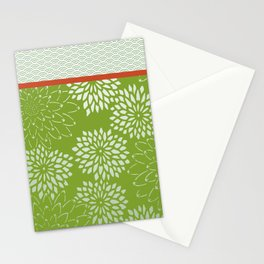 Dahlia Scallops Green and Orange Stationery Cards
