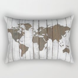 Rustic World Map Art on Upcycled Palette Wood Rectangular Pillow