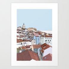 Lisbon cityscape - colours Art Print