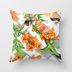 Hummingbirds and Trumpet Vines Throw Pillow