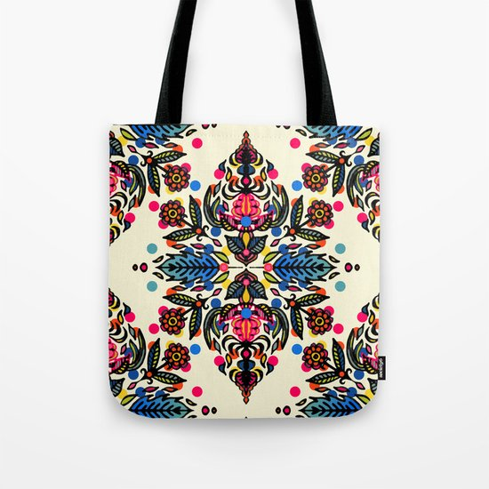 Bright Folk Art Pattern - hot pink, orange, blue & green Tote Bag