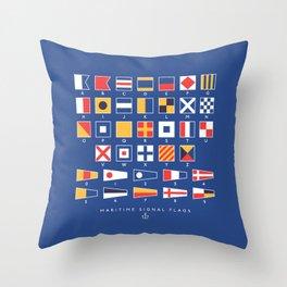 Maritime Nautical Signal Flags Chart - Navy Throw Pillow
