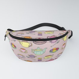Time For Tea and Cake Illustrated Print Fanny Pack