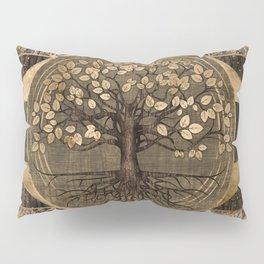 Tree of life - Yggdrasil - Wood and Gold Pillow Sham