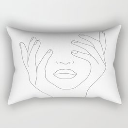 Minimal Line Art Woman with Hands on Face Rectangular Pillow
