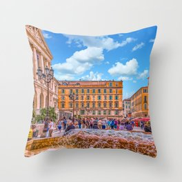 People in Nice Plaza with Fountain Throw Pillow