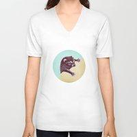 climbing V-neck T-shirts featuring Climbing Raccoon by KokDamon Lam
