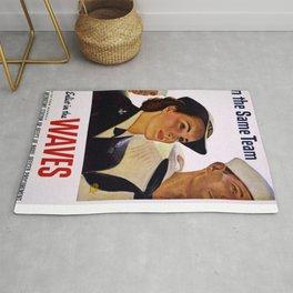 Vintage poster - Enlist in the Waves Rug