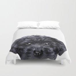 Black toy poodle Dog illustration original painting print Duvet Cover