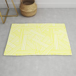 Sketchy Abstract (Light Yellow & White Pattern) Rug