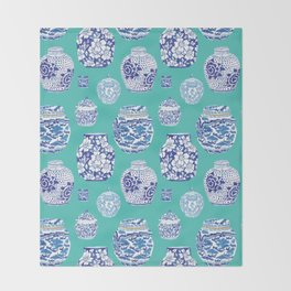Chinoiserie Ginger Jar Collection No.5 Throw Blanket