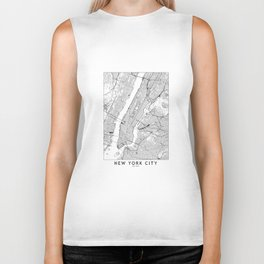 New York City White Map Biker Tank