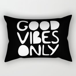 GOOD VIBES ONLY (black) - Handlettered typography Rectangular Pillow
