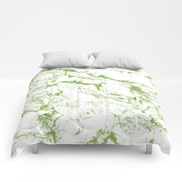 Modern white green marble greenery color of the year pattern Comforters